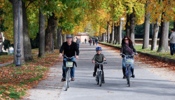 family bike ride on the walls of lucca, italy