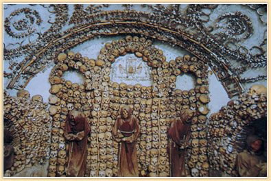 capuchin crypt in rome - chapel made up of skulls and bones