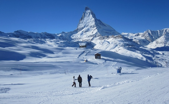 Skiing Under the Matterhorn Zermatt